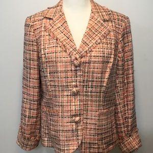 Emma James Peach Tweed Fringed Blazer Size 12